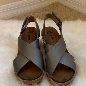 Clark's heeled wedges